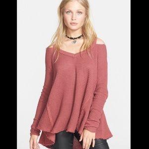 Free People Moonshine V-Neck Cold Shoulder Sweater